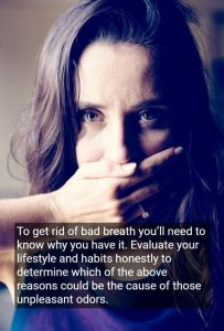 Woman covering her mouth with hand because of bad breath, with text - Stockton, CA
