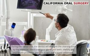 Dentist showing X-Rays to patient who often visits the dentist, with text - California Oral Surgery